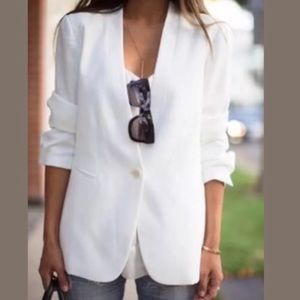 Cabi Everly Linen Long White Career Blazer